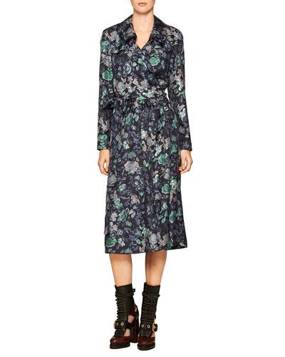 Floral-Print Silk Wrap Dress, Navy
