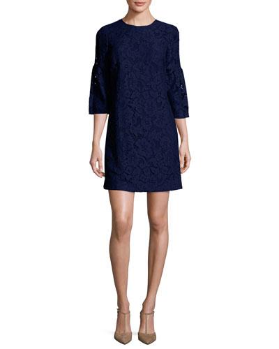 3/4-Sleeve Lace Shift Dress, Navy