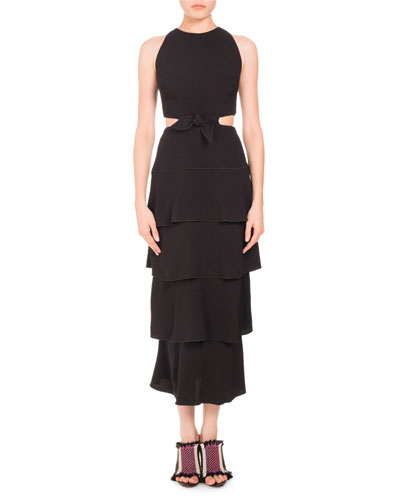 Sleeveless Tiered Cutout Midi Dress, Black
