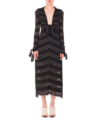 Long-Sleeve Pinstriped Gauzy Crepe Midi Dress, Black/White