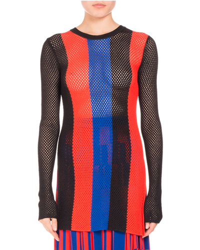 Striped Mesh-Knit Sweater, Geranium/Sapphire