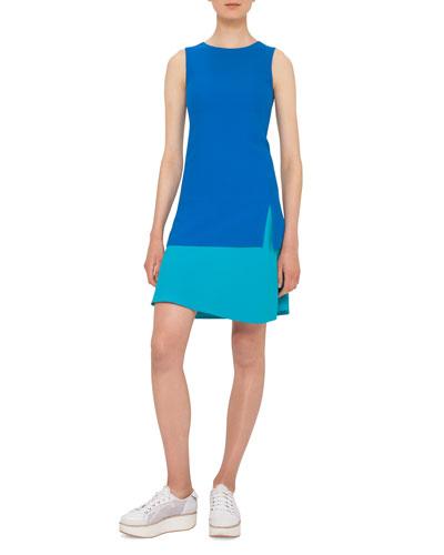 Sleeveless Two-Tone Shift Dress, Turquoise