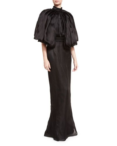 Mock-Neck Open-Back Silk Organza Gown, Black