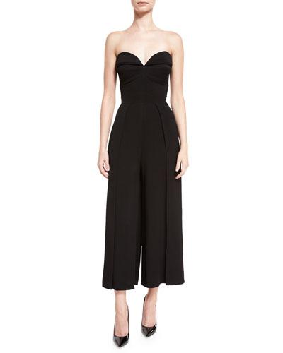 Cropped-Leg Bustier Jumpsuit, Black