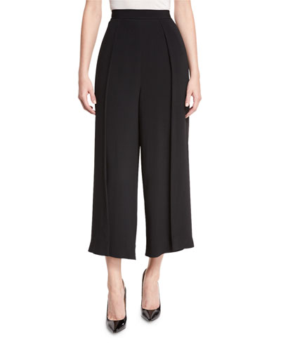 Cropped Suiting Trousers, Black