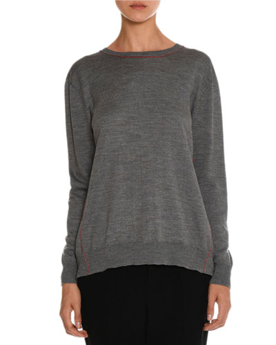 Crewneck Sweater w/Gingham Bow Back, Gray