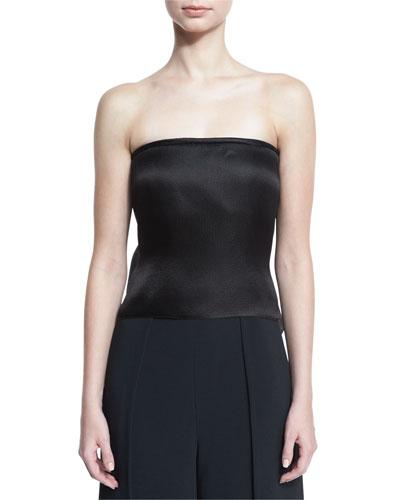 Strapless Silk Organza Top w/Back Bustle, Black