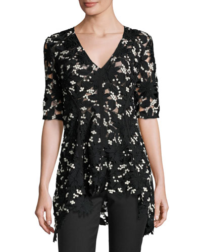 Half-Sleeve Flared Lace Top, Black/Ivory
