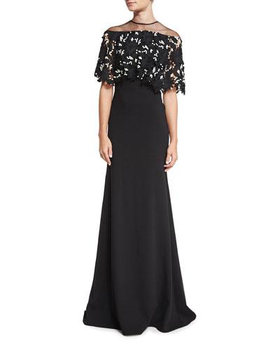 Floral Lace Capelet Gown, Black/Ivory