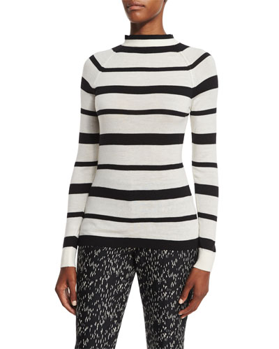 Striped Funnel-Neck Sweater, Black/Ivory