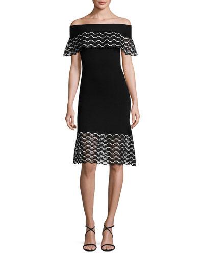 Wavy Knit Off-Shoulder Dress, Black/Ivory
