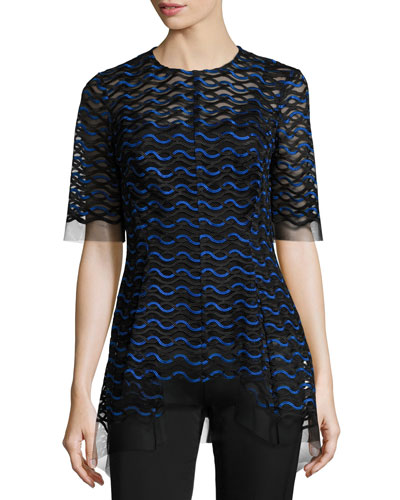Wavy-Illusion Half-Sleeve Top