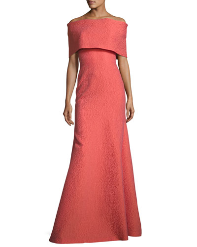 Off-Shoulder Matelasse Gown, Coral