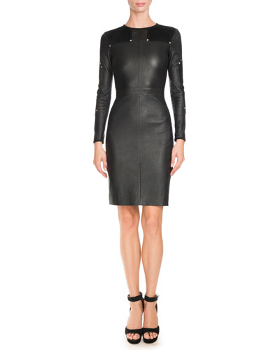 Studded Leather Long-Sleeve Dress, Black