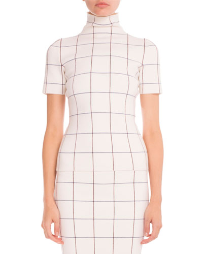Windowpane Check Mock-Neck Top, Multi