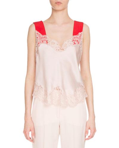 Silk Cami Top, Light Pink