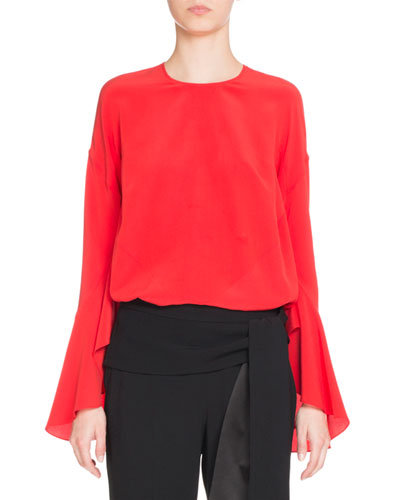 Crepe de Chine Bell-Sleeve Top, Red