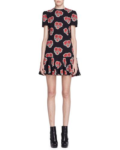 Short-Sleeve Poppy-Print Cape-Back Dress, Black/Red