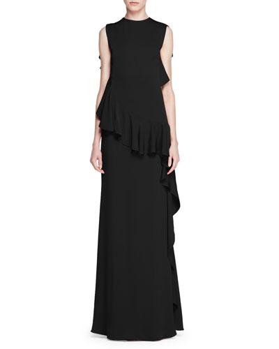 Sleeveless Ruffled Crepe Gown, Black