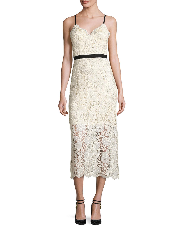 Sleeveless Lace Midi Dress, Ivory/Black
