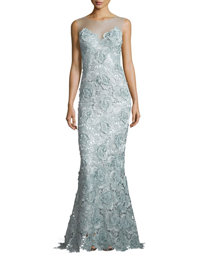 Lace Sweetheart-Illusion Gown, Light Blue