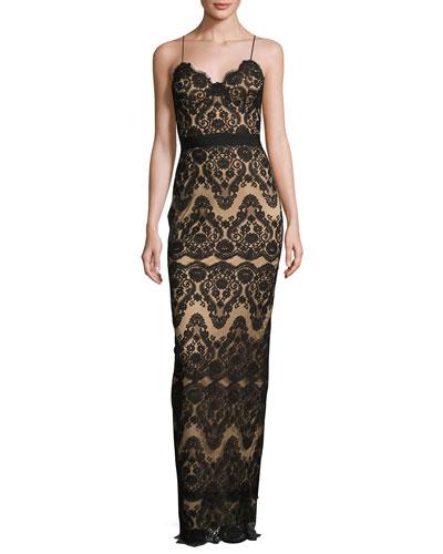 Two-Tone Lace Column Gown, Black/Almond