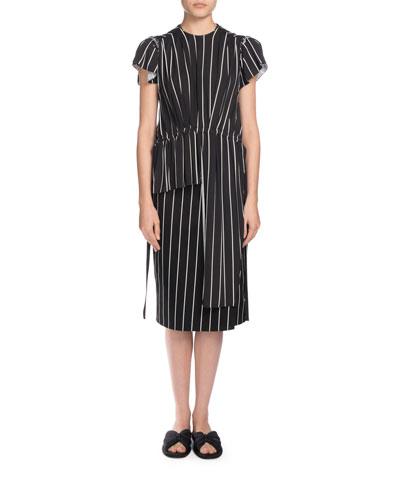Asymmetric Striped Blouson Top, Black/White