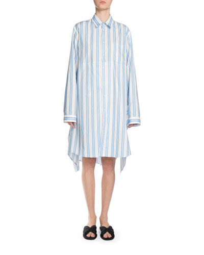 Long-Sleeve Striped Cotton Shirtdress, White/Blue