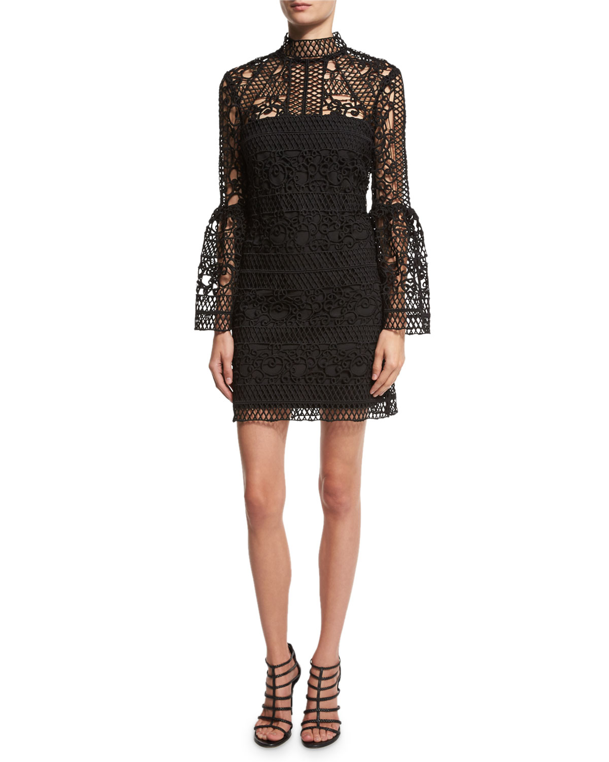 Crocheted Lace Mock-Neck Cocktail Dress, Black