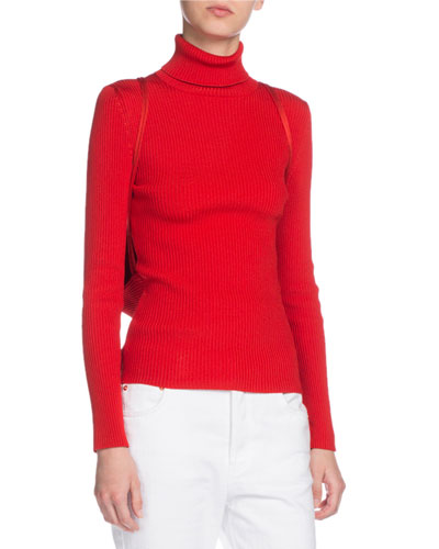 Ribbed Turtleneck Sweater w/Matching Drawstring Backpack, Red