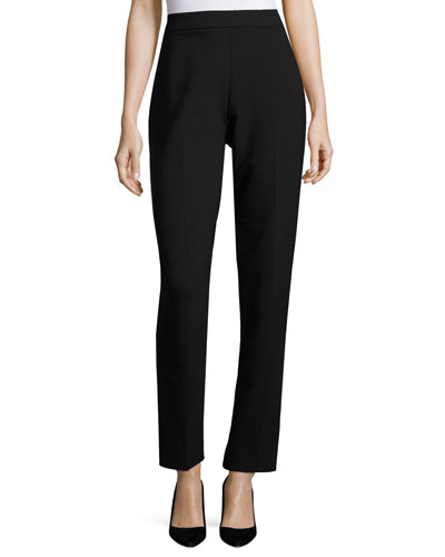Slim-Fit Double-Face Wool Pants, Black
