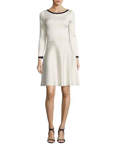 Long-Sleeve Two-Tone Dress, Ivory/Black
