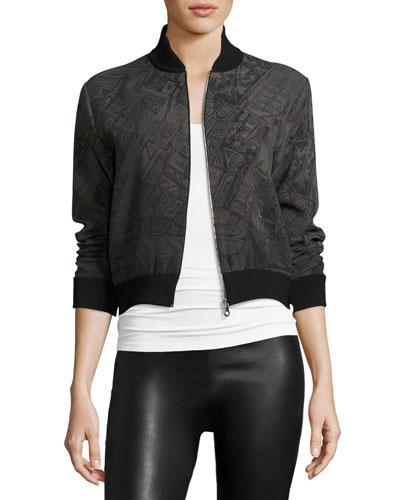 Printed Zip-Front Bomber Jacket, Black/Gray