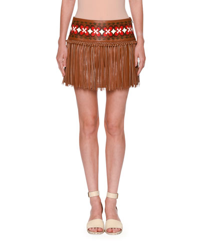 Knotted Fringe Leather Mini Skirt, Tan
