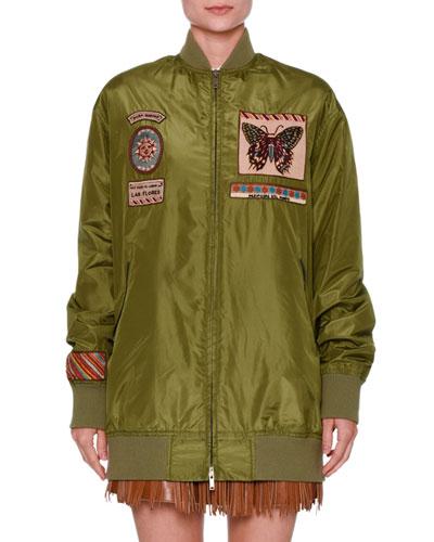 Patch-Embellished Taffeta Bomber Jacket, Olive