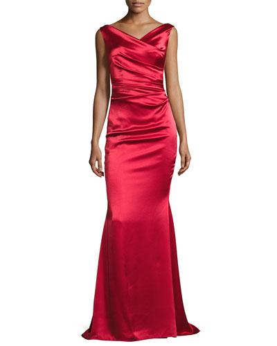 Kombo Sleeveless Draped Satin Gown, Red