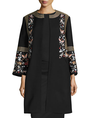 Embroidered Wool-Blend Coat, Black/Multi