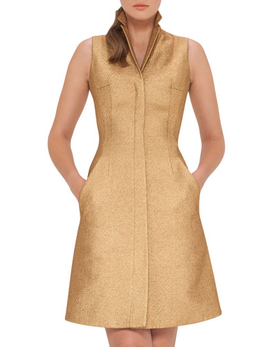 Sleeveless Coat Dress w/Back A-Cutout, Gold