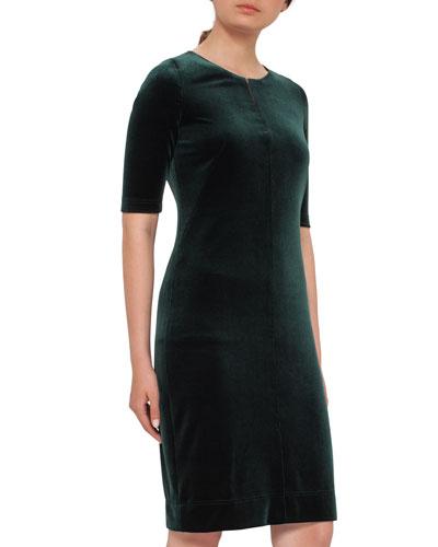 Half-Sleeve Velvet Dress, Goodwood