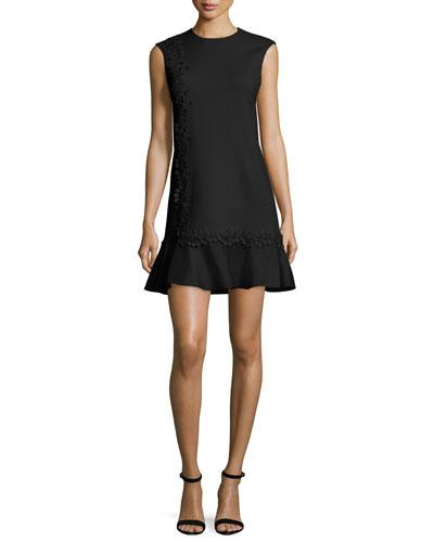 Lace-Trim Cady Drop-Waist Dress, Black