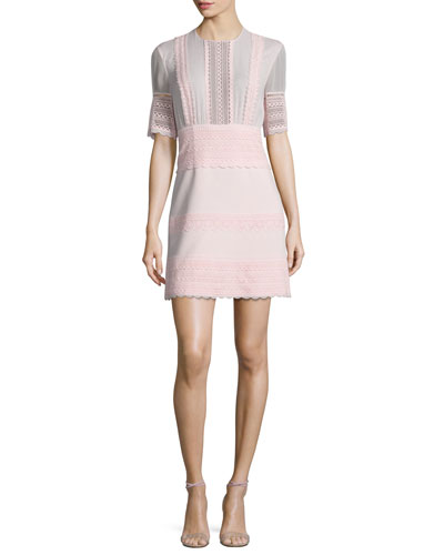 Lace-Trim Elbow-Sleeve Dress, Pink