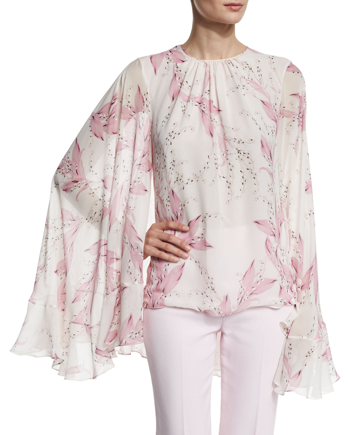 Lilly of the Valley Cape-Sleeve Blouse, White/Pink