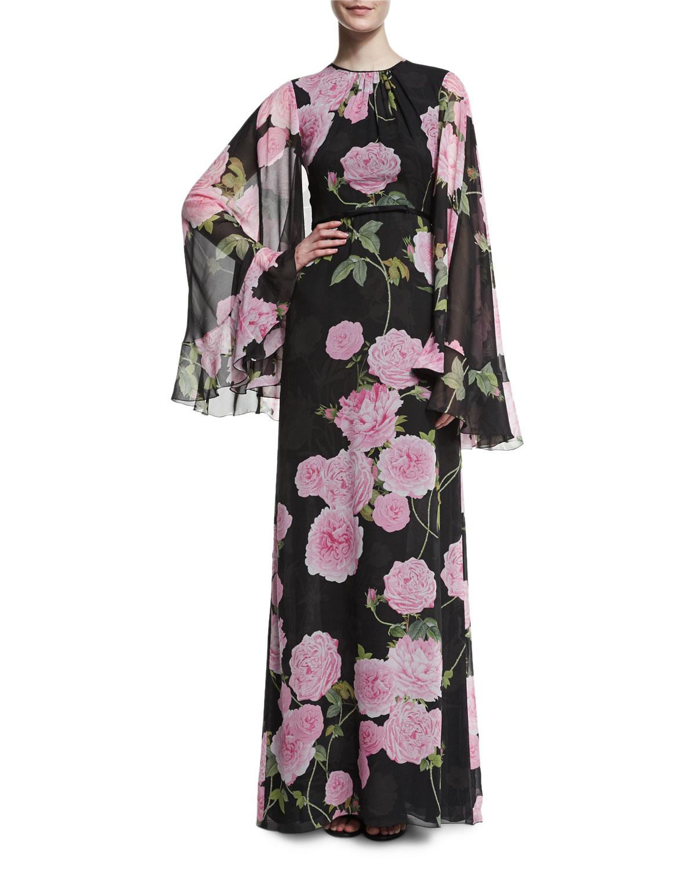 Rose-Print Chiffon Cape-Back Gown, Black/Pink Rose