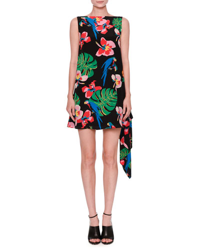 Tropical-Print Draped-Back Dress, Black/Multi