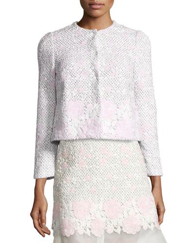 Lace Bracelet-Sleeve Jacket, Pink/White