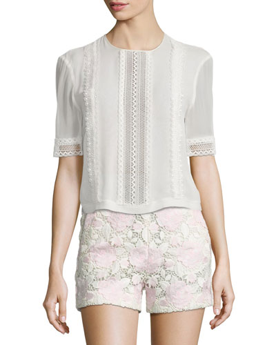 Half-Sleeve Lace-Trim Top, White