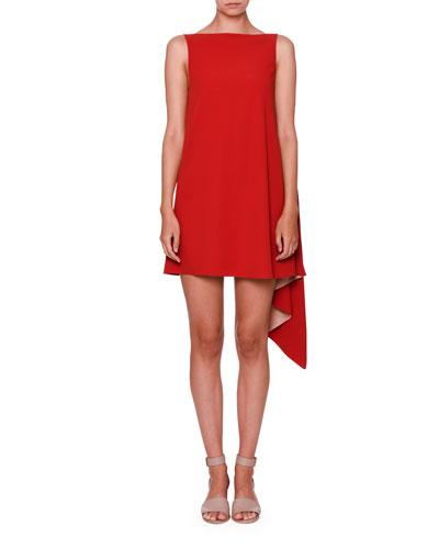 Sleeveless Asymmetric Crepe Dress, Red