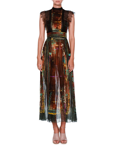 Mock-Neck Lace-Trim Forest-Print Midi Dress, Rust