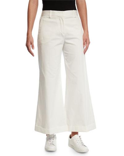 Cropped Wide-Leg New Baker Pants, White
