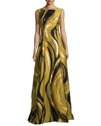Metallic Brushstroke Jacquard Gown, Gold